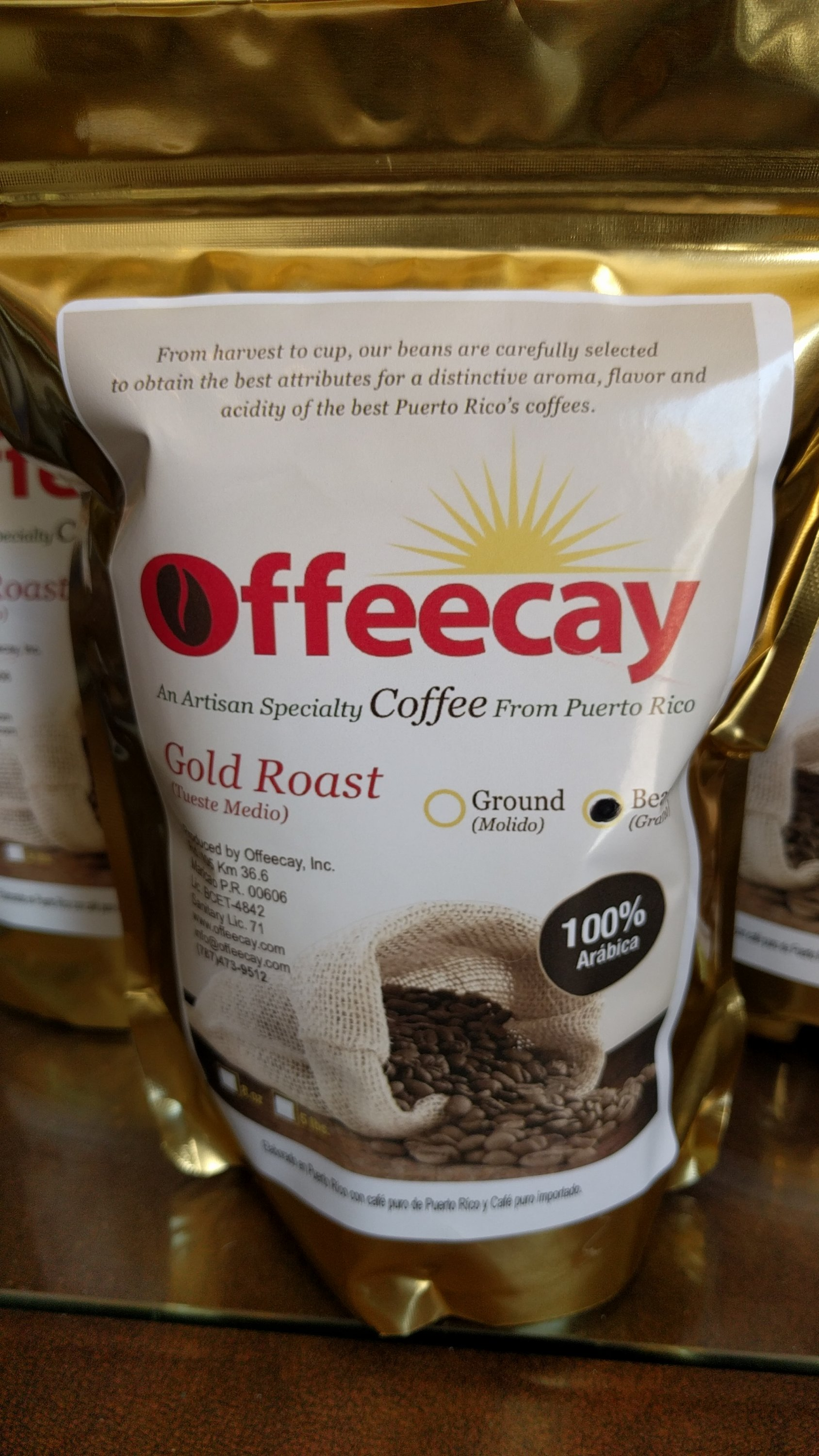 Pack of coffee beans